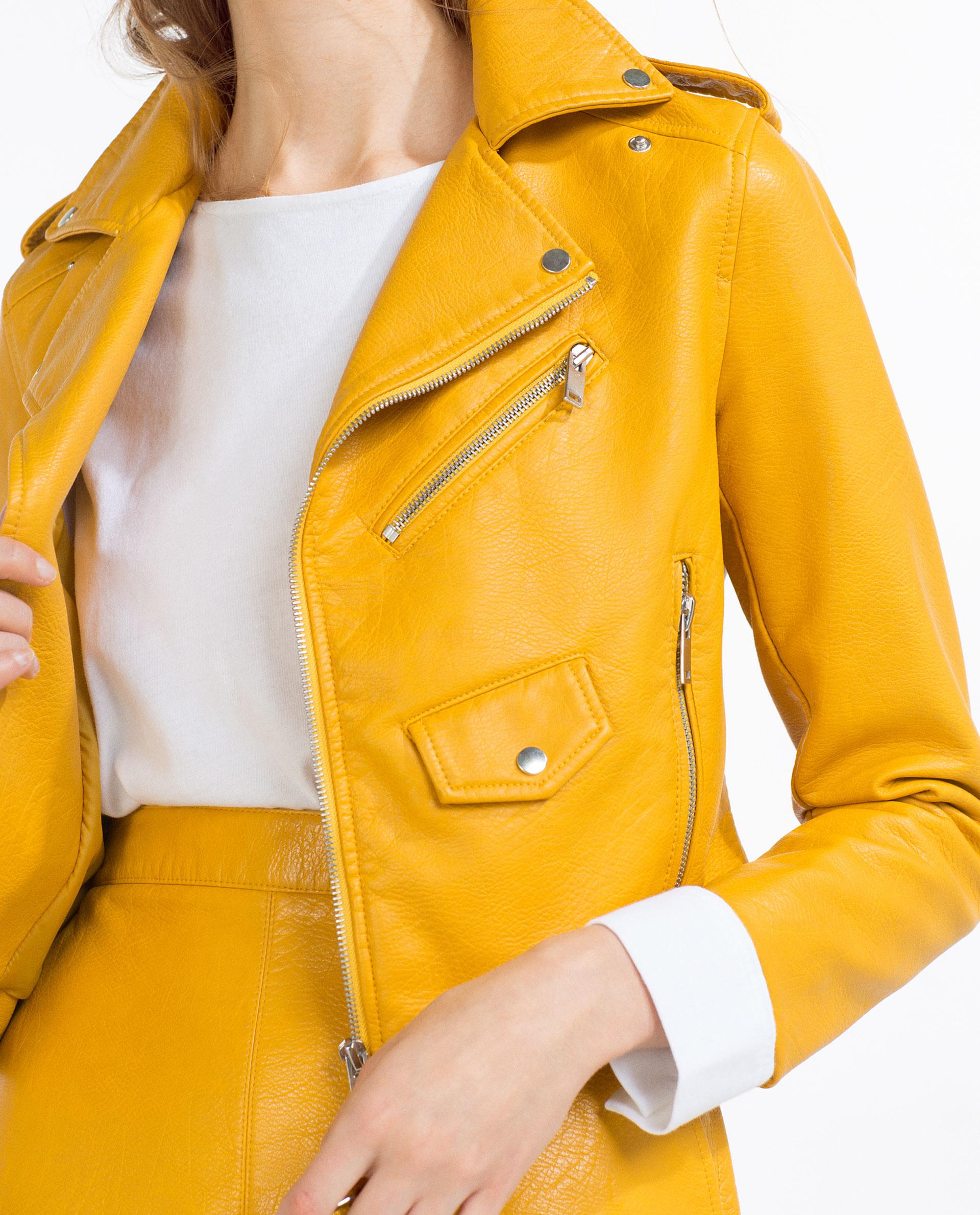 Leather jacket yellow zara - Gallery
