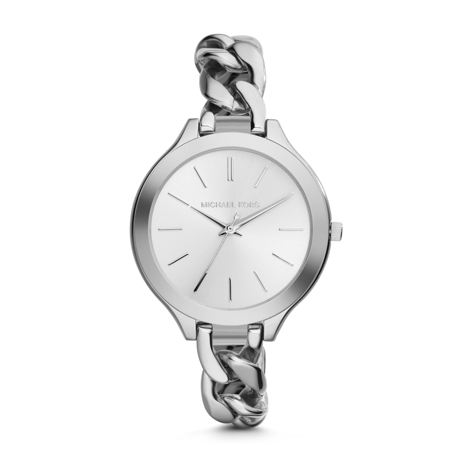 f9b7e518e0fe Lyst Michael Kors Slim Runway Silver Tone Chain Link Watch In Metallic