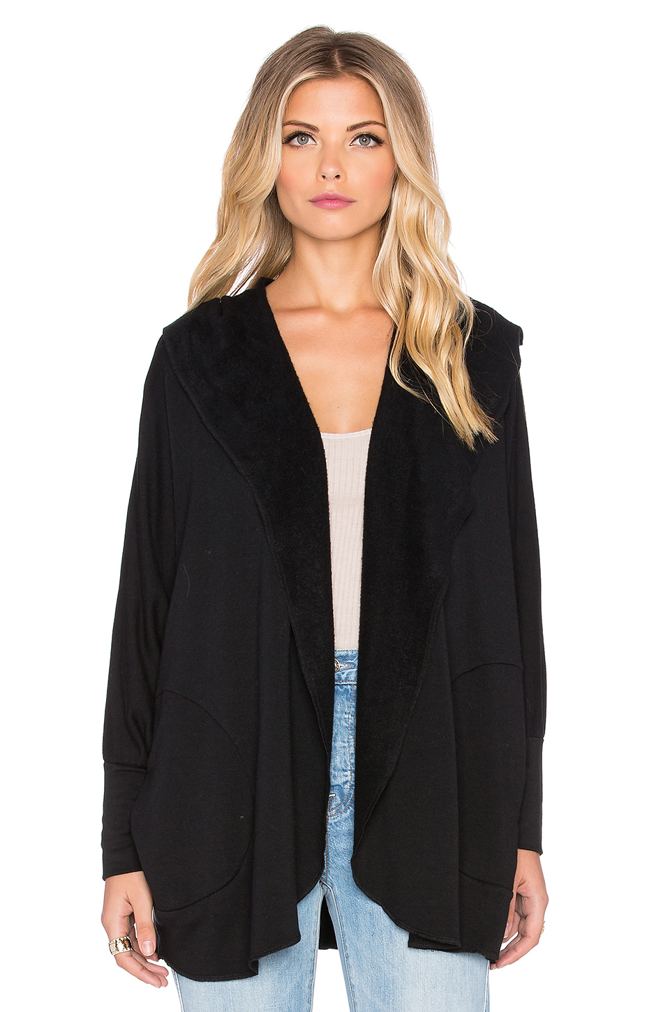 Beautiful people Supersoft Fleece Cardigan in Black | Lyst
