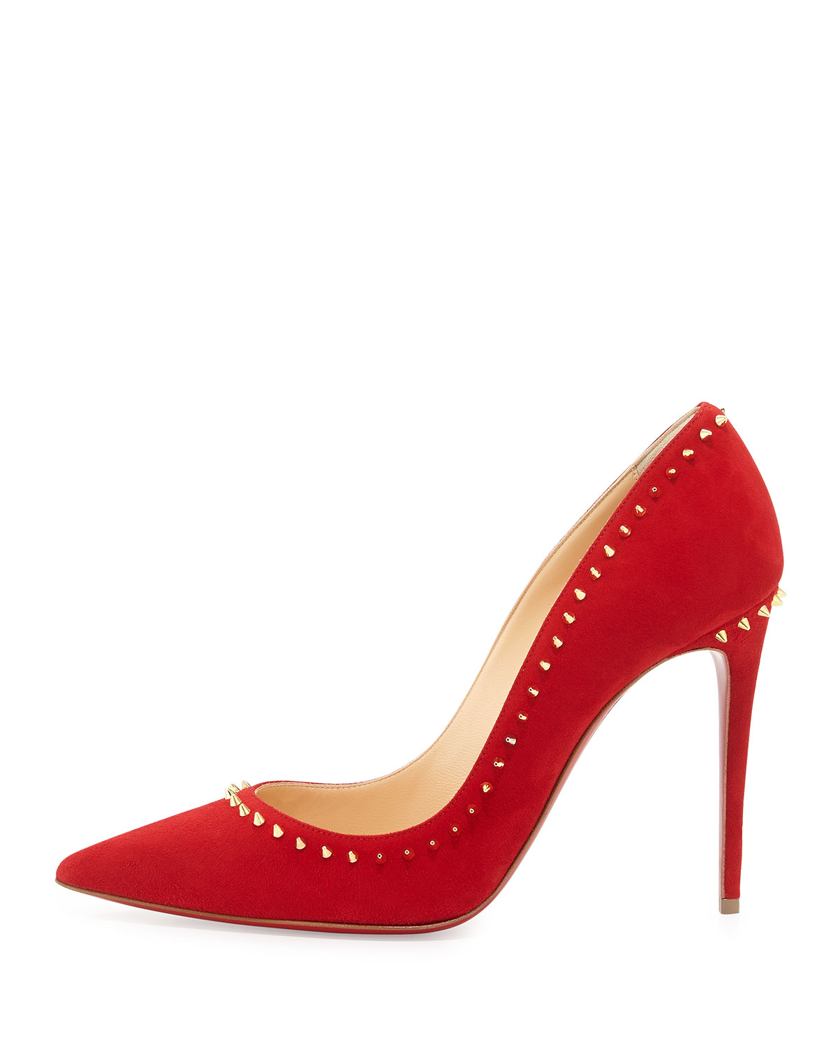 60f2764eb0a ... coupon code lyst christian louboutin anjalina spiked suede red sole  pumps in 79923 d684b