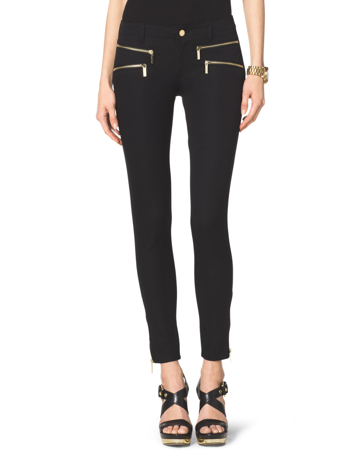 michael kors michael zipper skinny jeans in black lyst. Black Bedroom Furniture Sets. Home Design Ideas