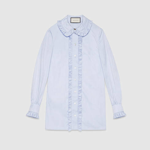 Gucci Cotton Oxford Shirt In Blue Lyst