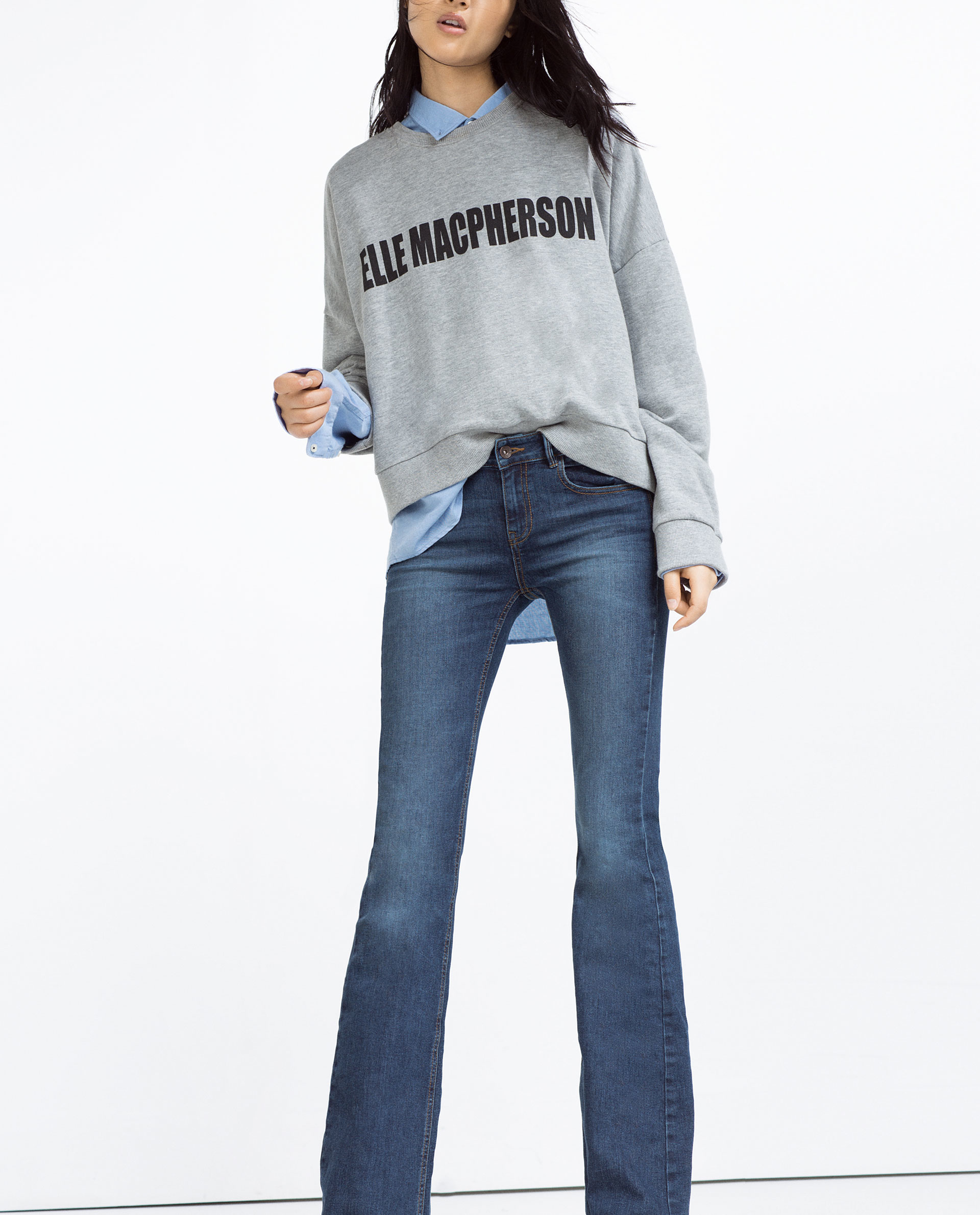 Zara Mid-rise Flared Jeans in Blue | Lyst