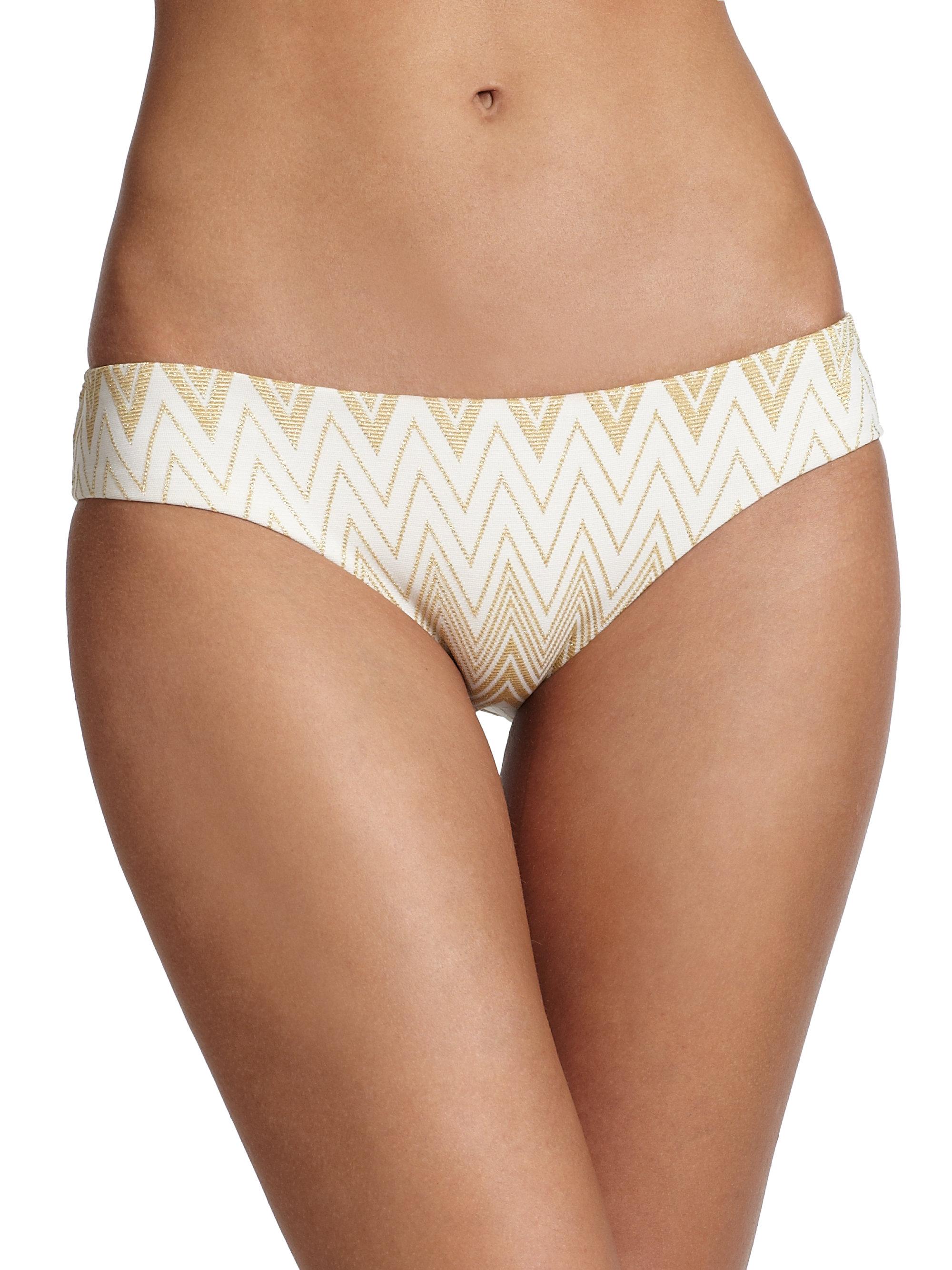 Shoshanna Chevron Hipster Bikini Bottom In Metallic Lyst