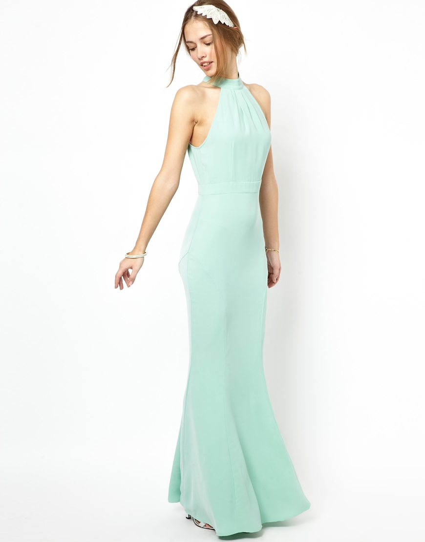 Jarlo Caden Maxi Dress With High Neck In Green Lyst