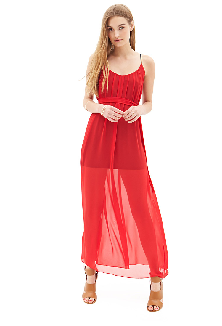 Forever 21 Pleated Chiffon Maxi Dress in Red | Lyst