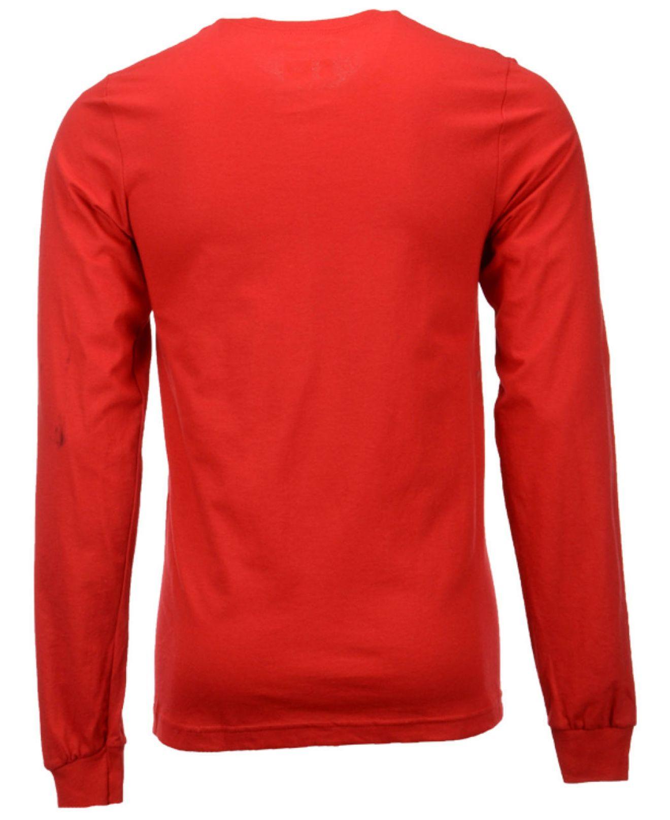 Red Long Sleeve T Shirt Mens Artee Shirt