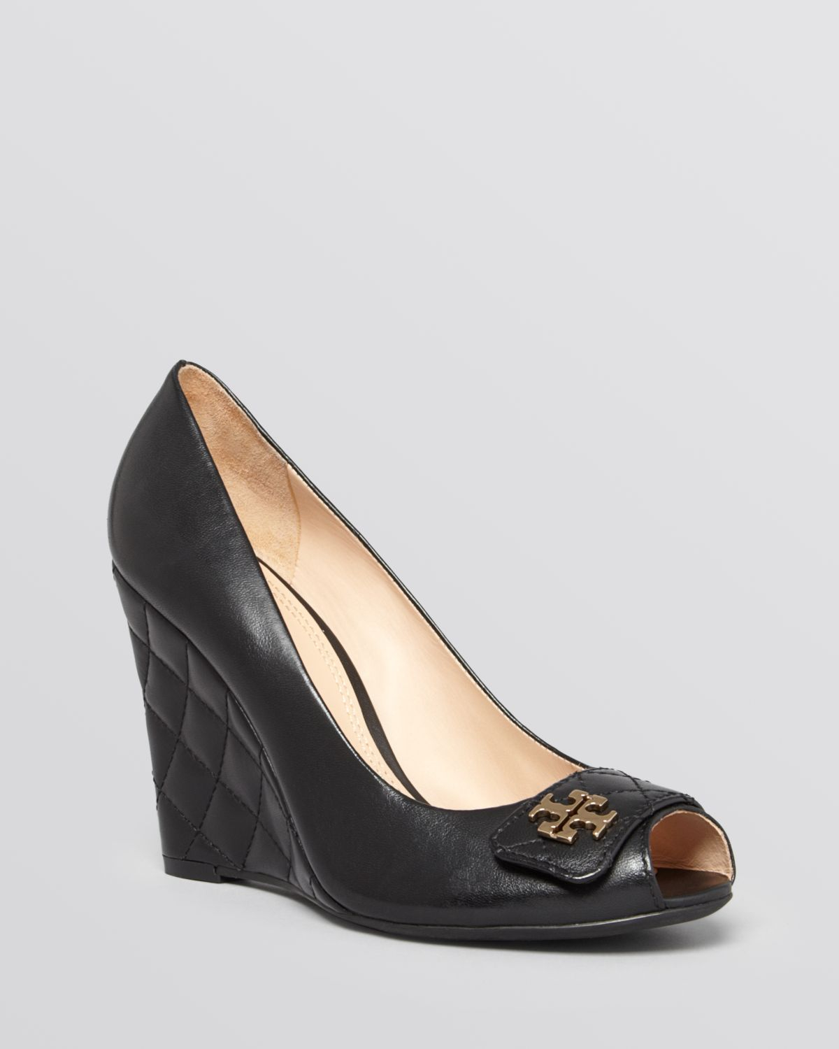 53cc4d1a1b34d8 Lyst - Tory Burch Peep Toe Wedge Pumps - Leila Quilted in Black