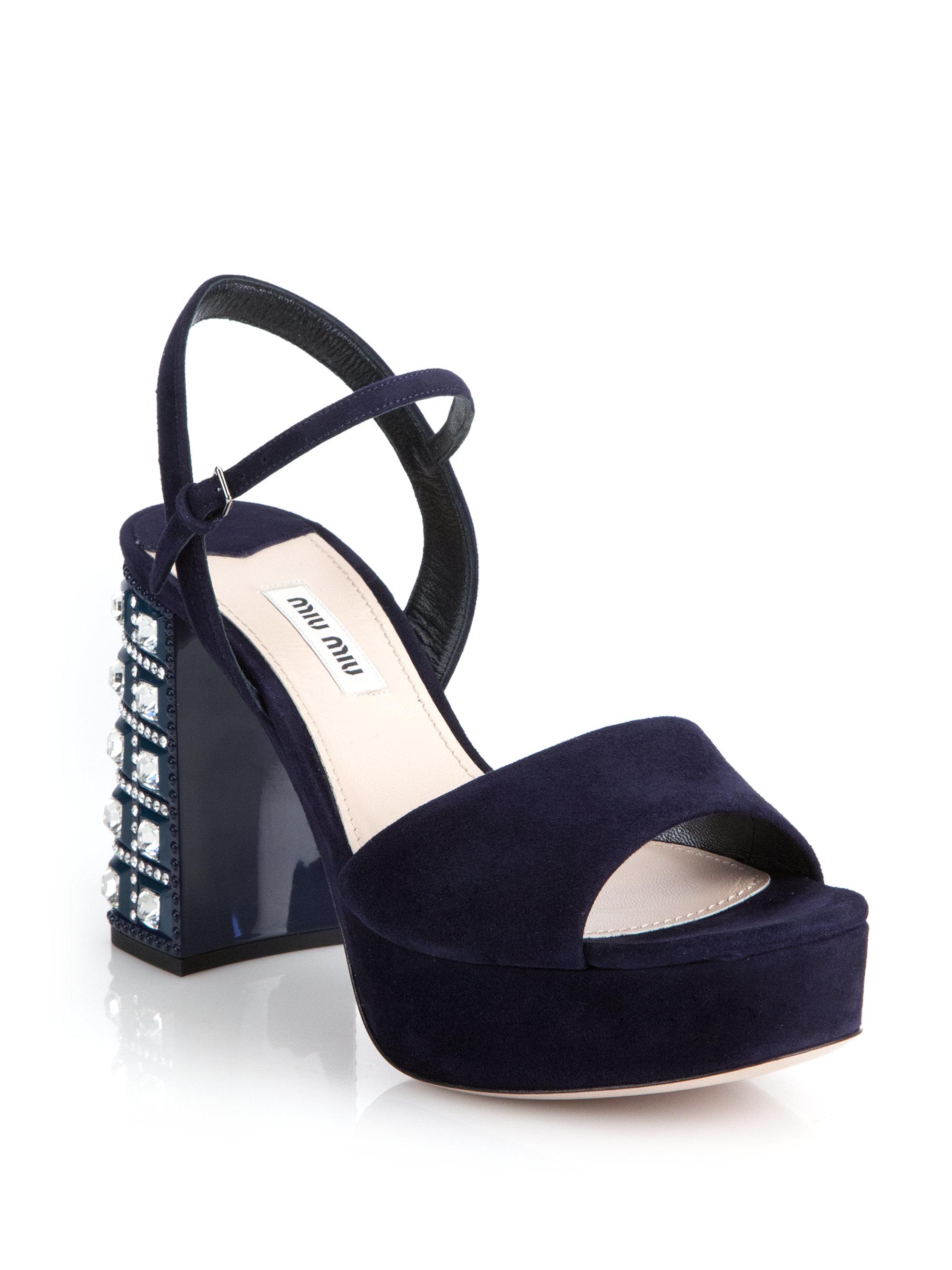 Sandales À Bout Ouvert Embellis - Miu Miu Bleu JCDQEHaU