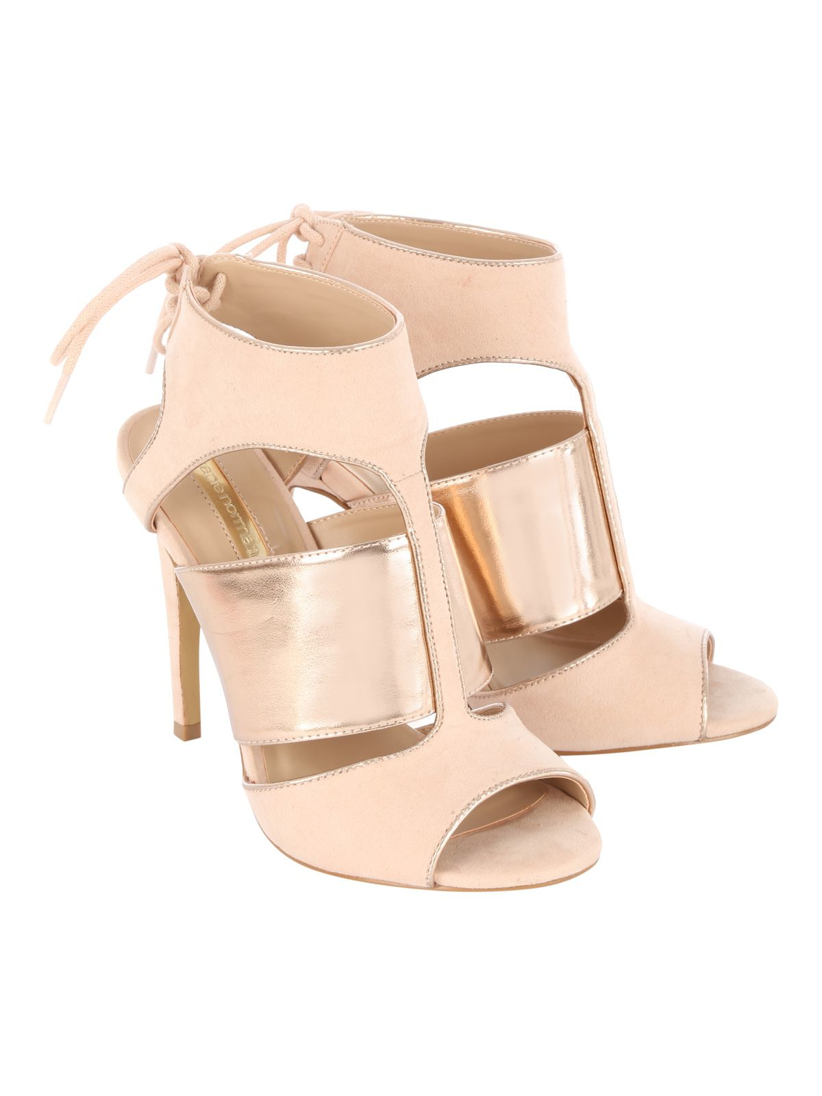 Jane Norman Lace Up Rose Gold Cage Heels In Natural Lyst