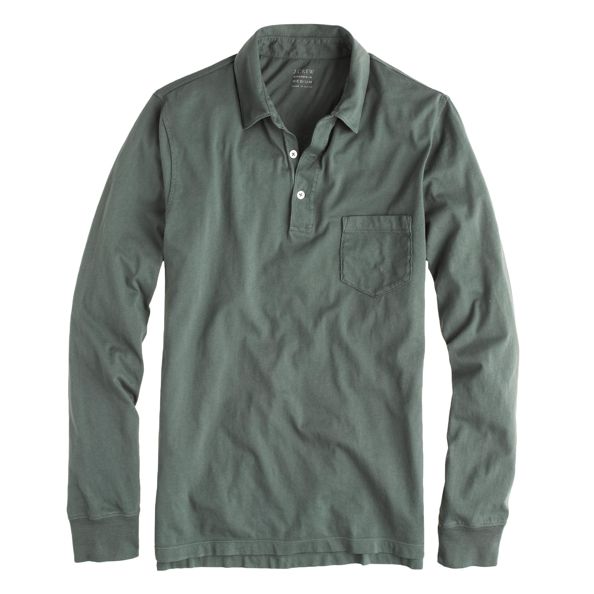 tall broken in long sleeve pocket polo shirt in