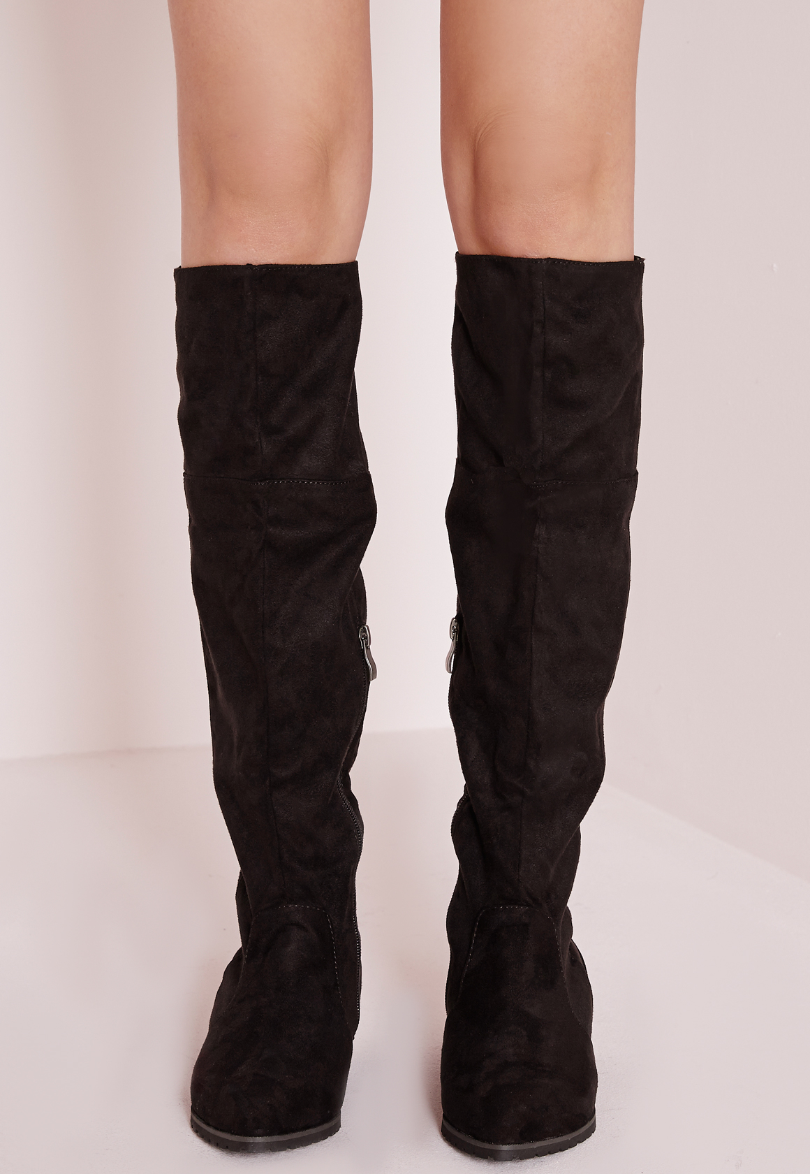 Missguided Pointed Toe Hidden Wedge Long Boots Black in Brown | Lyst
