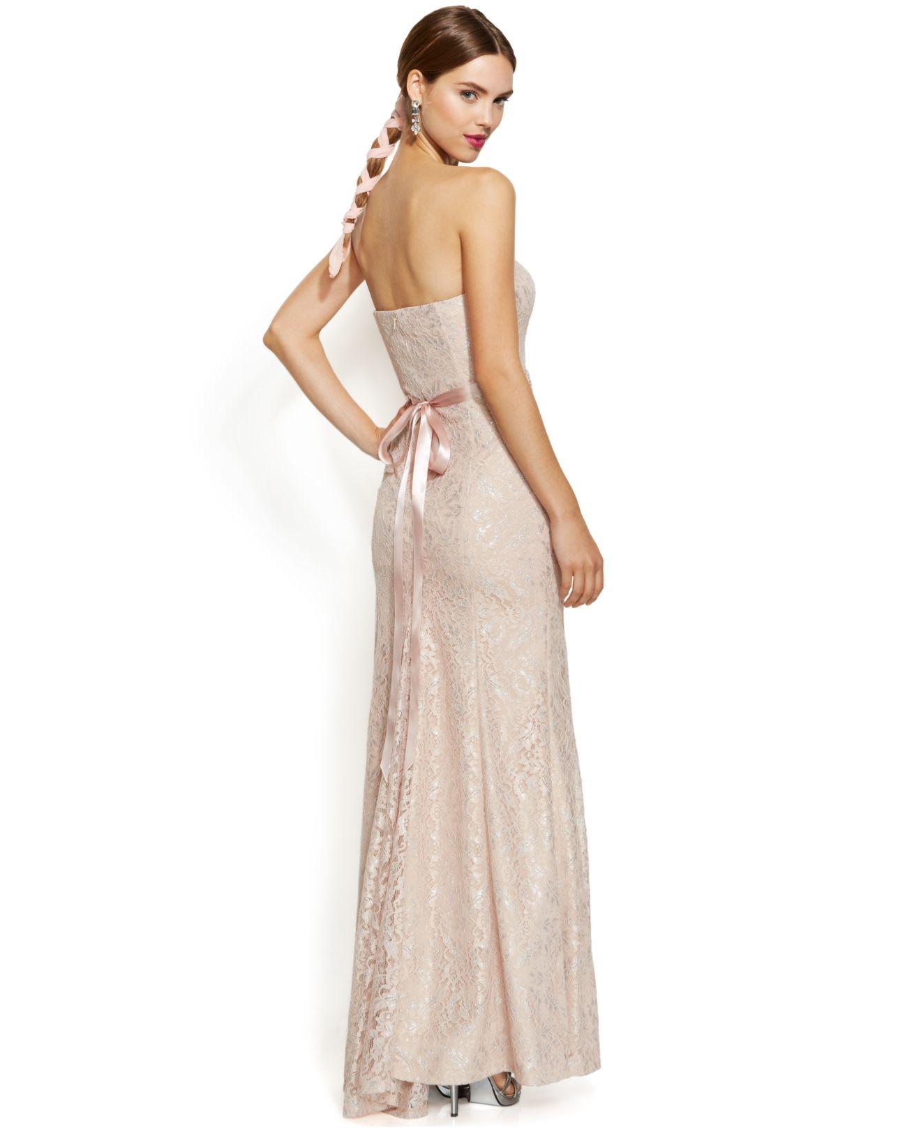 e59d8dedd1f Lyst - Betsy   Adam Strapless Metallic-Lace Mermaid Gown in Pink