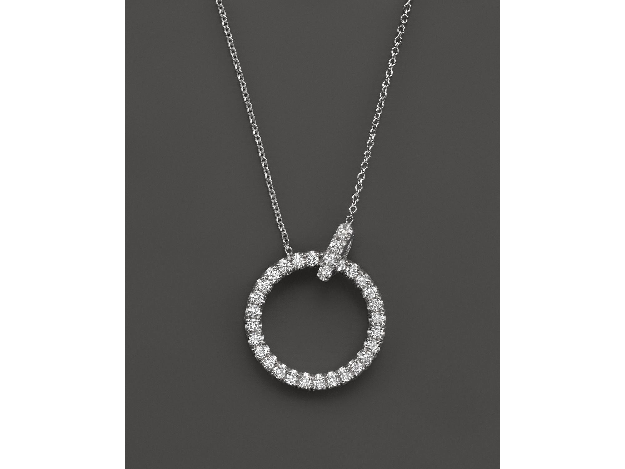 Lyst roberto coin 18k white gold diamond circle pendant necklace gallery previously sold at bloomingdales womens circle necklaces aloadofball Gallery