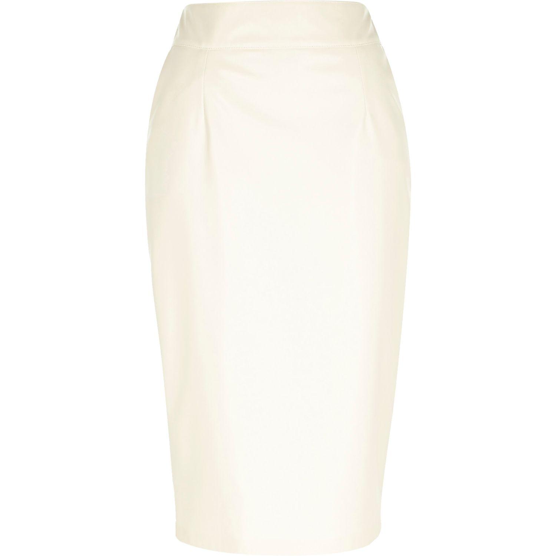 River island cream leather look pencil skirt – Modern skirts blog ...