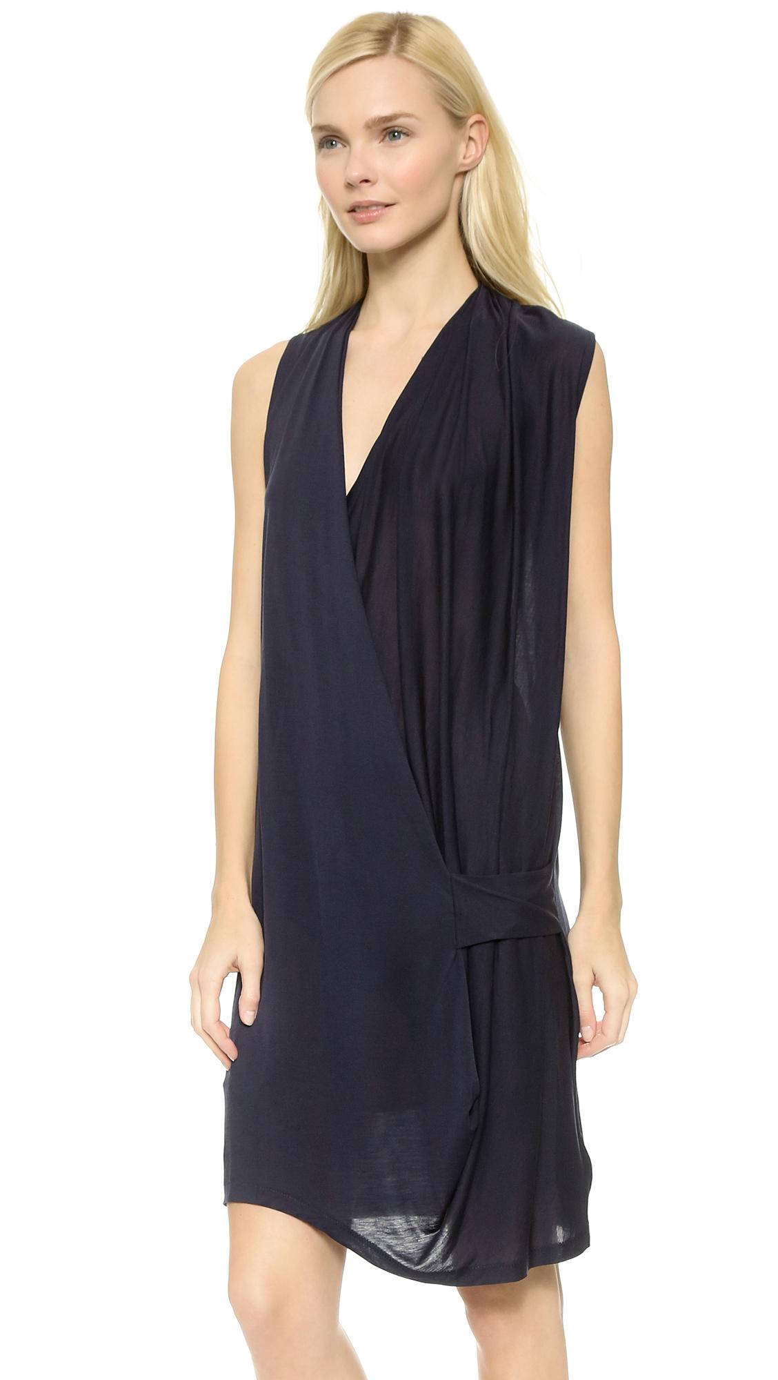 c132087772b Acne studios Natifa Tencel Draped Dress - Dark Navy in .