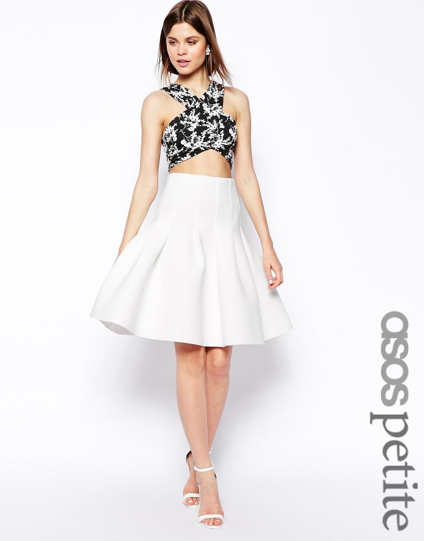 Asos Premium Pleated Deep Waistband Midi Skirt In Scuba in White ...