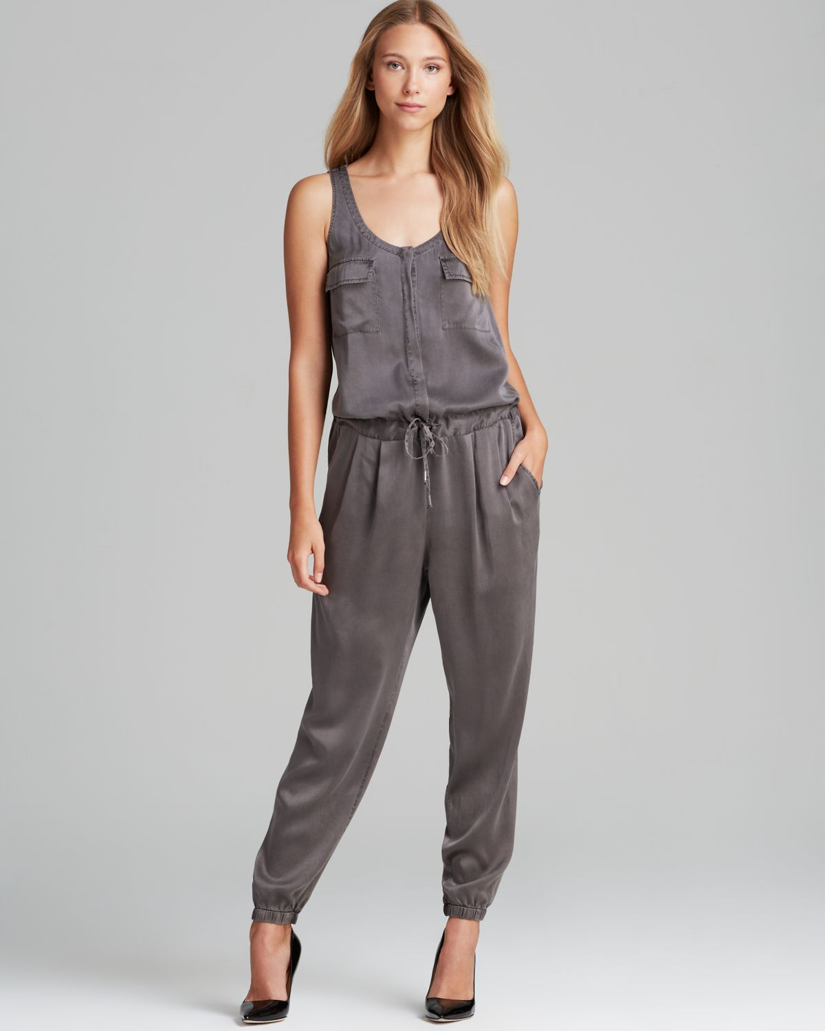 38cef2ff8859 Lyst - Eileen Fisher Silk Drawstring Jumpsuit in Gray