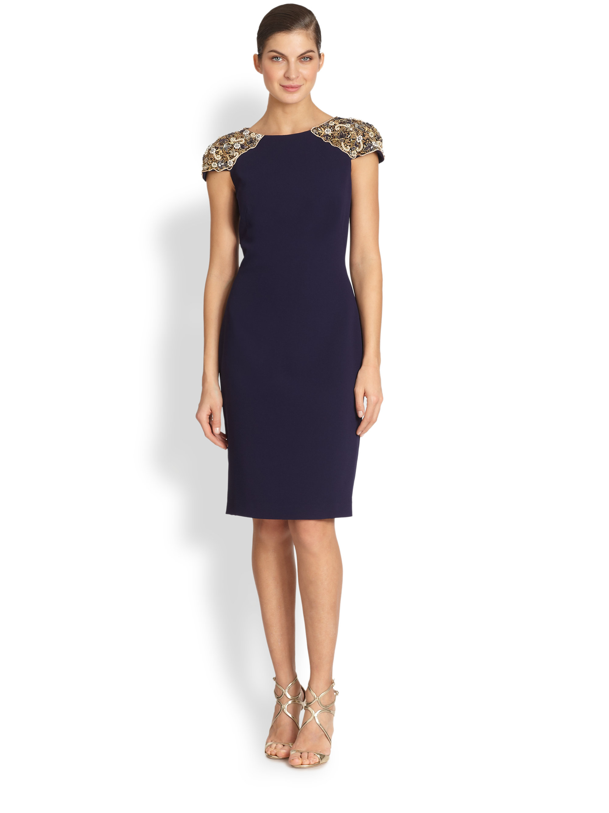 Lyst Badgley Mischka Embellished Cap Sleeve Cocktail
