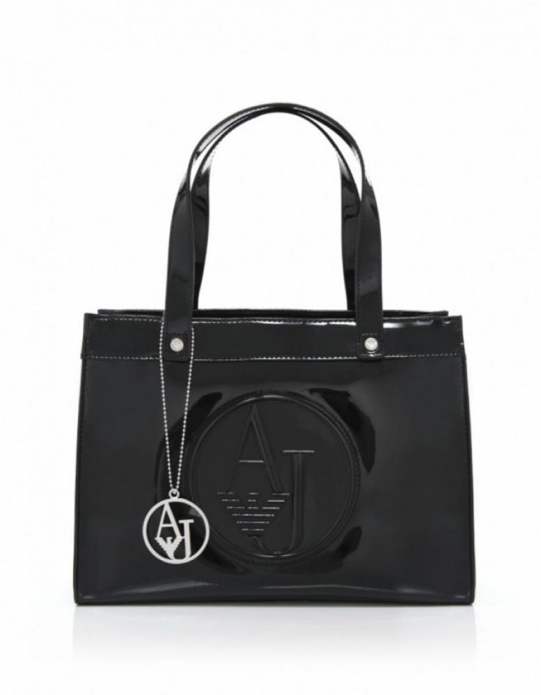 armani jeans small patent shopper bag in black lyst. Black Bedroom Furniture Sets. Home Design Ideas