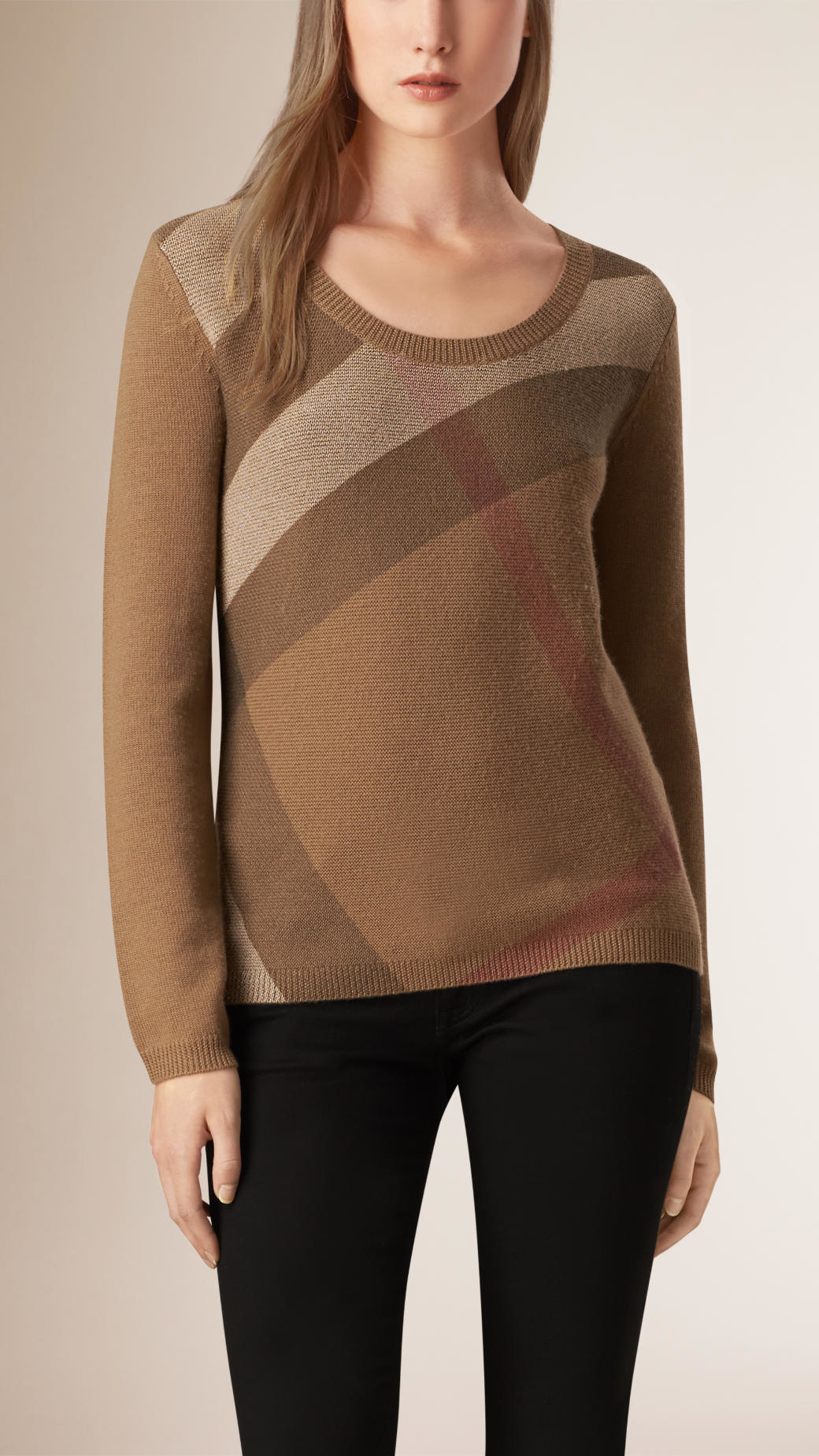 Burberry Check Detail Wool Cashmere Sweater Dark Camel in Brown | Lyst