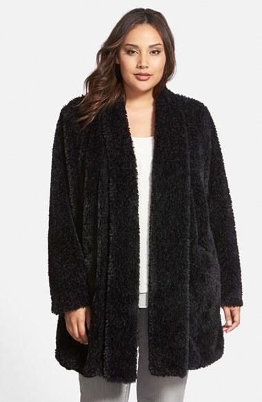 Kenneth Cole Teddy Bear Faux Fur Clutch Coat In Black Lyst