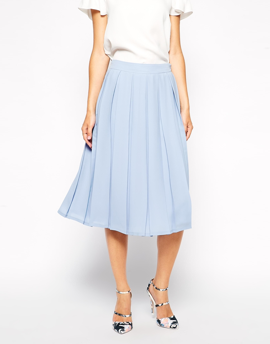 Asos Knife Pleat Midi Skirt in Blue | Lyst
