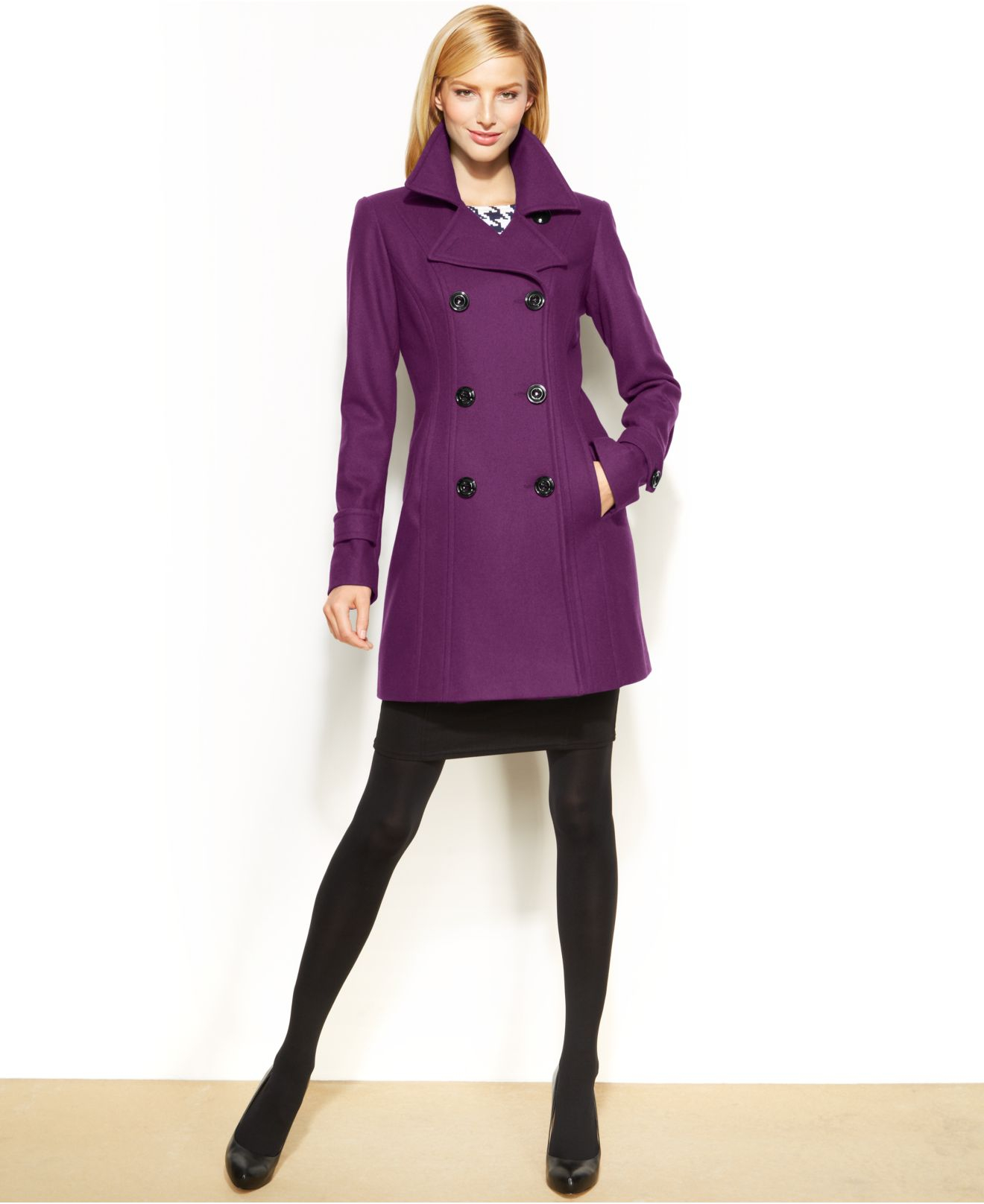 Anne klein Wool Peacoat in Purple | Lyst