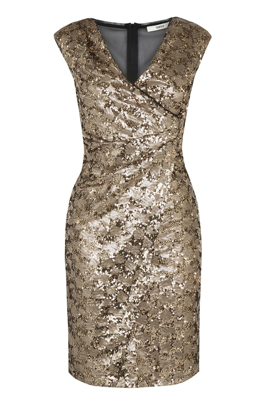 Wal g wrap detail dress with metallic stripe in blue navy lyst - Oasis Metallic Premium Sequin Dress Lyst View Fullscreen