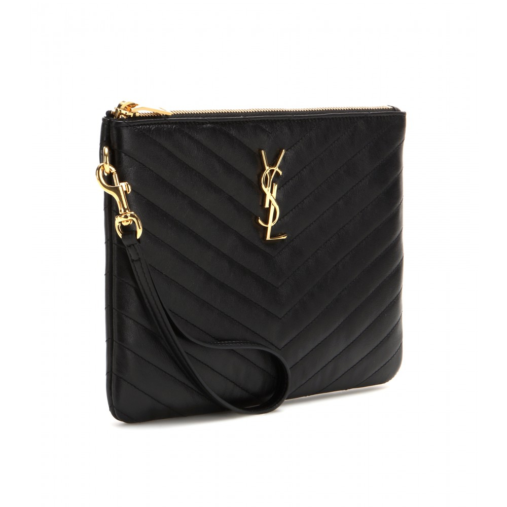 Monogrammed Leather Clutch Ysl Clutch Replica