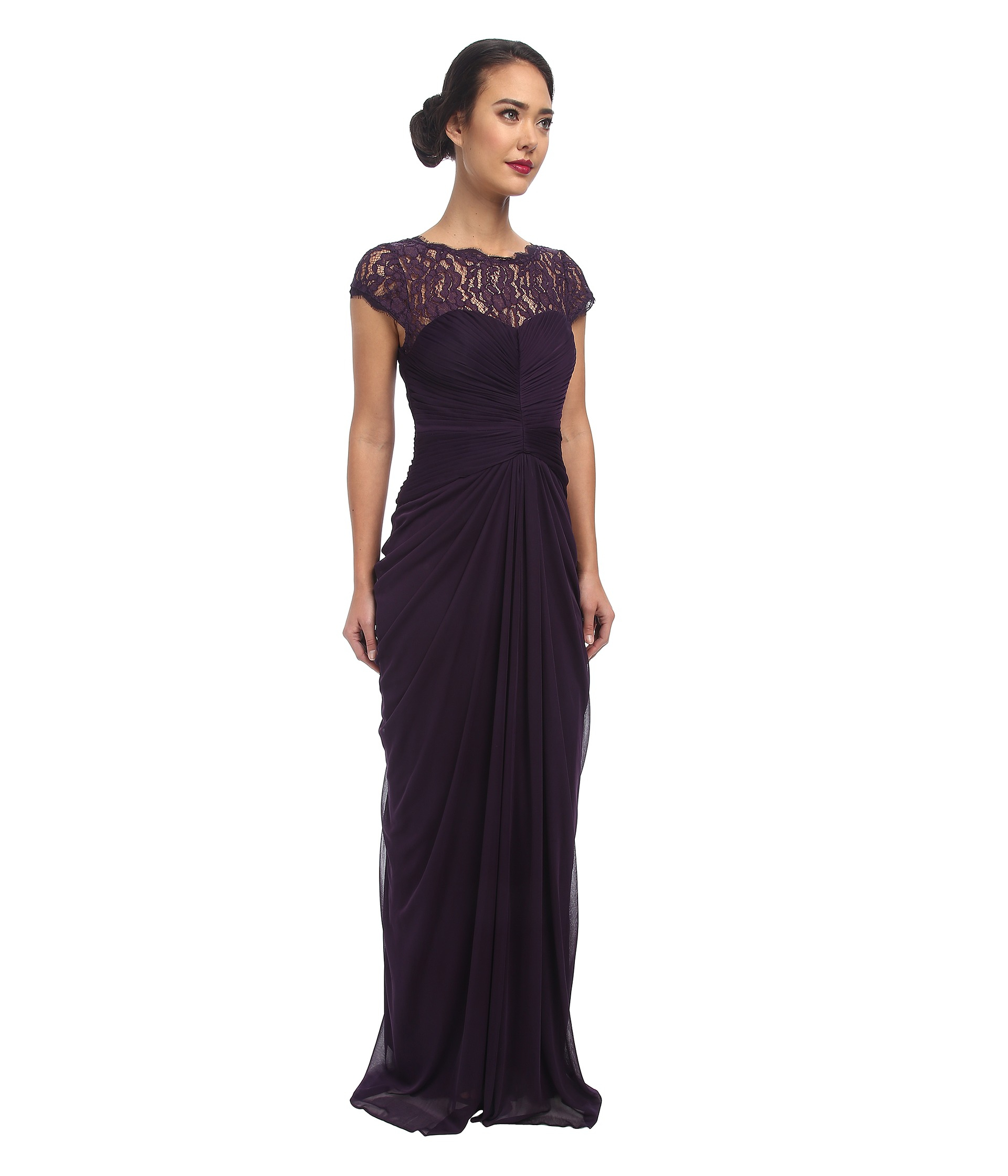Lyst - Adrianna Papell Lace Bodice On Draped Skirt in Purple