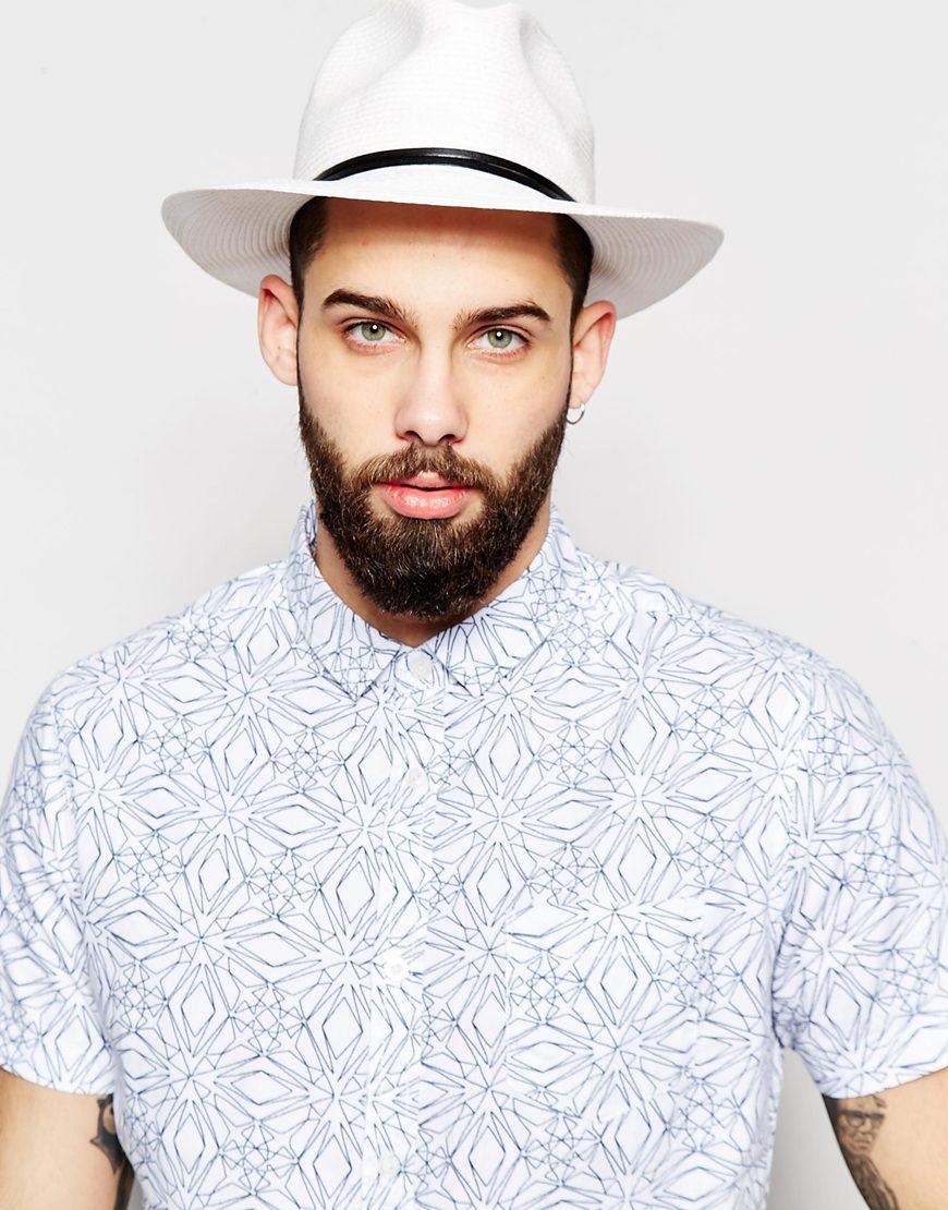 Lyst - Catarzi Wide Brim Fedora Hat in White for Men 4a9ce1b9d53