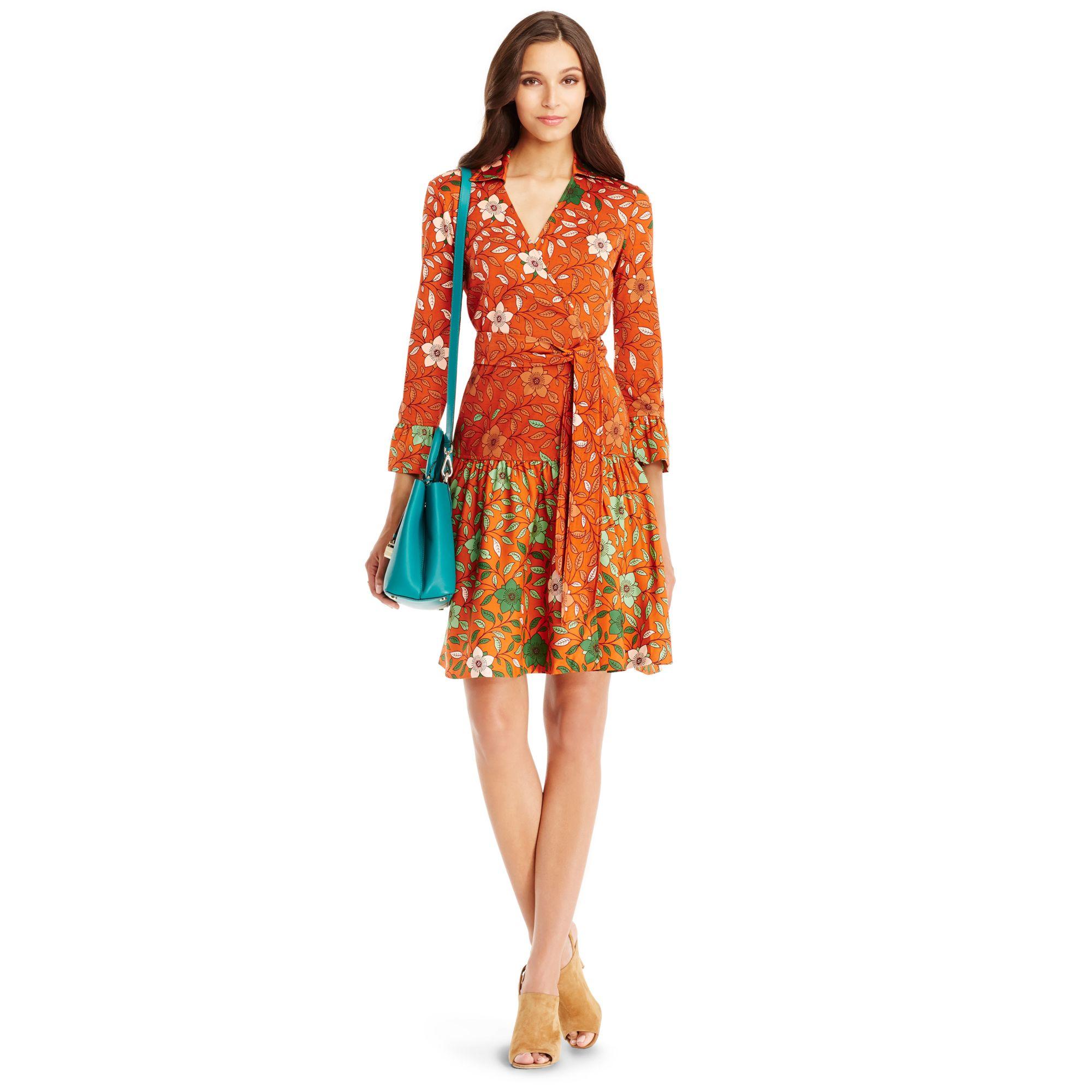 Lyst diane von furstenberg dvf sylvia silk combo wrap for Diane von furstenberg clothes