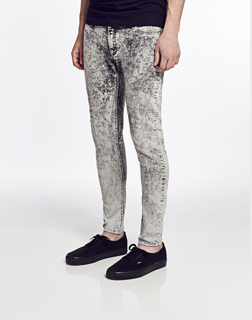 Cheap monday Low Spray Jeans In Super-Skinny Fit Ice Wash in Gray ...