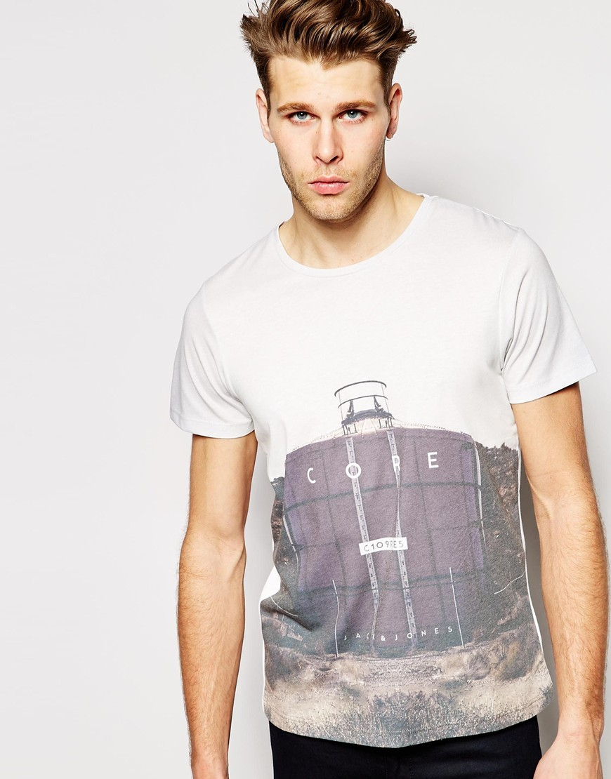 jack jones t shirt with industrial print in white for men lyst. Black Bedroom Furniture Sets. Home Design Ideas