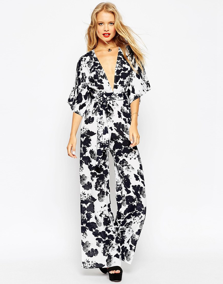 ce827999b0 Lyst - ASOS Tall Jumpsuit With Kimono Sleeve In Mono Floral