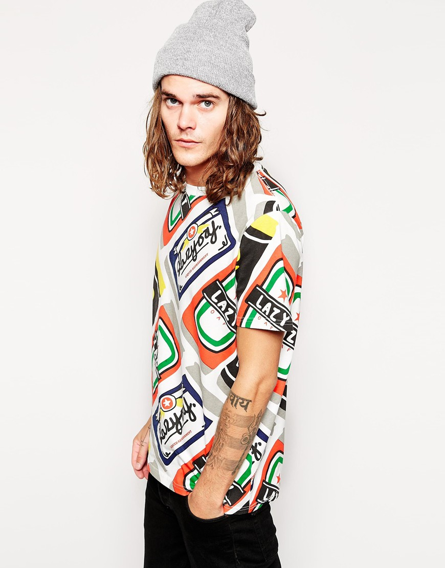 Lazy oaf t shirt in beer can print for men lyst for Where can i print t shirts