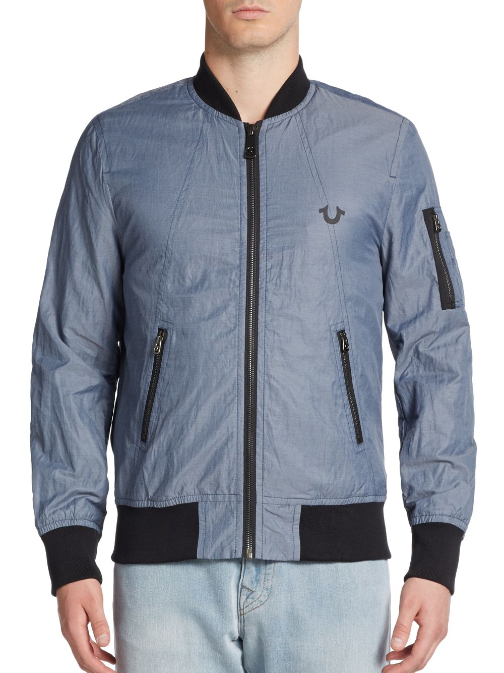 true religion cotton nylon bomber jacket in blue for men lyst. Black Bedroom Furniture Sets. Home Design Ideas
