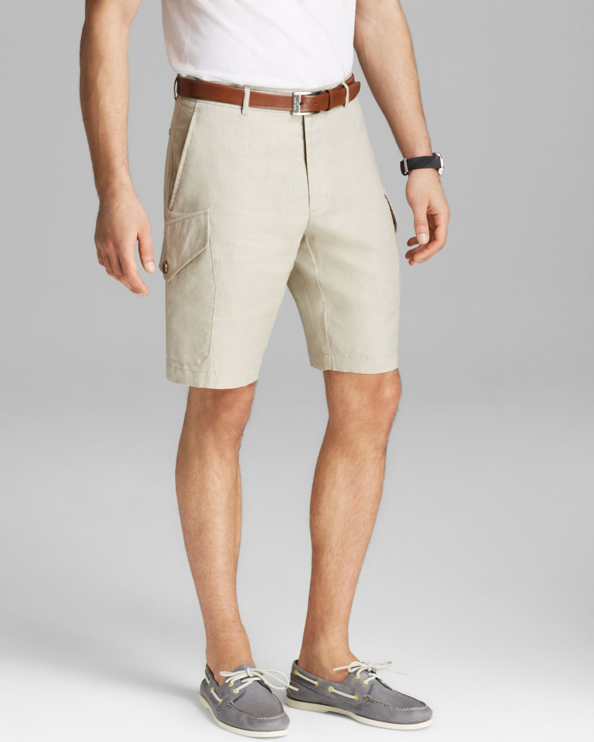 Michael kors Linen Cargo Shorts in White for Men | Lyst