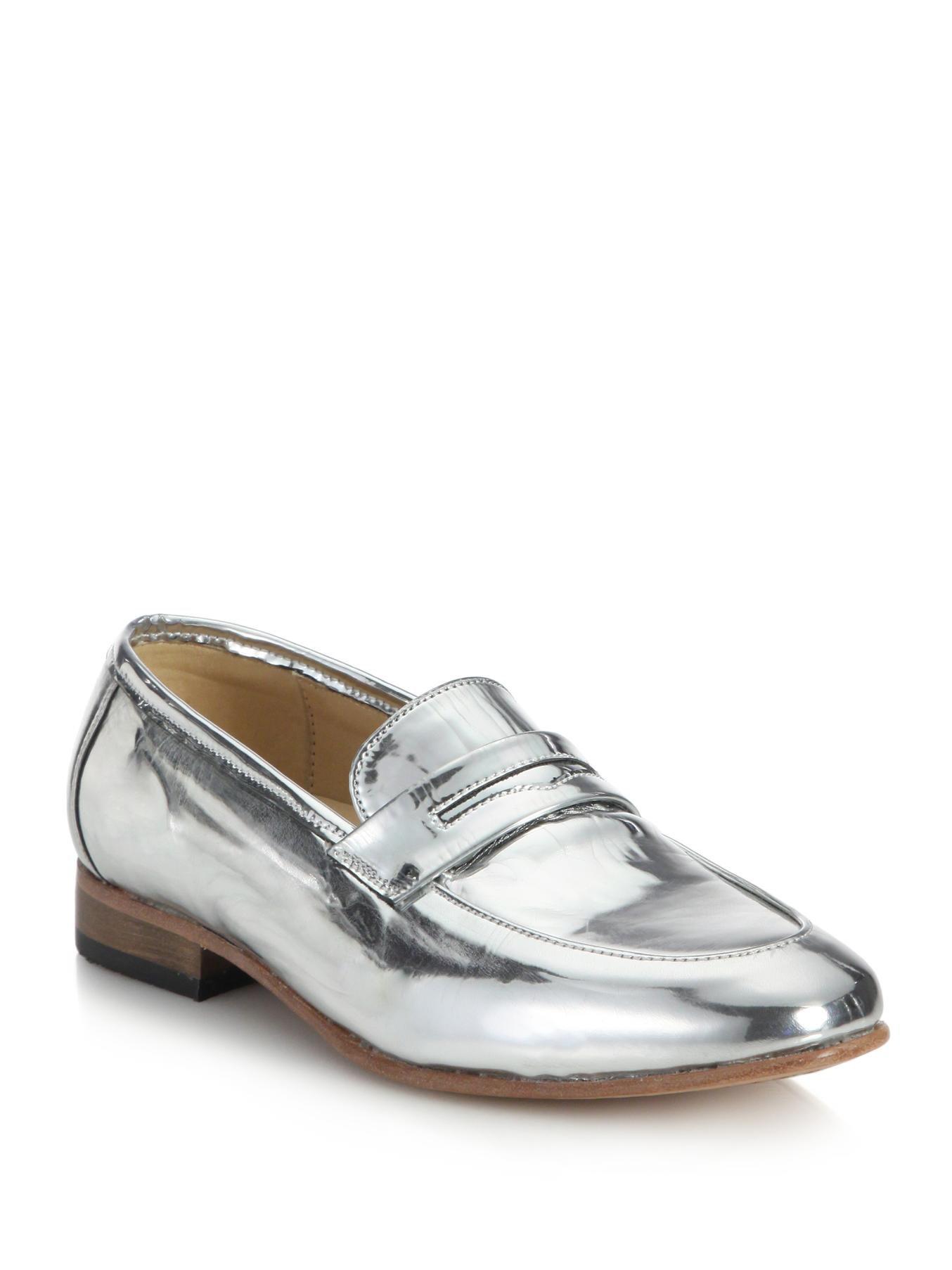 8e7c3470c Lyst - Dieppa Restrepo Metallic Leather Penny Loafers in Metallic