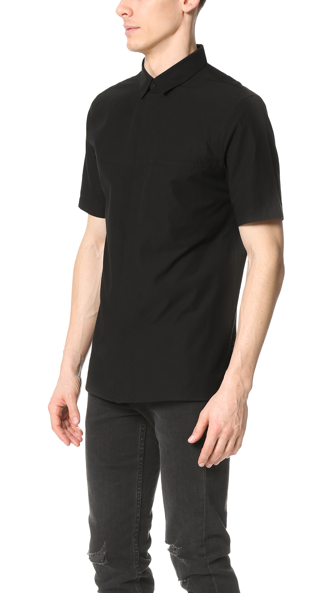 helmut lang whisper short sleeve shirt in black for men lyst. Black Bedroom Furniture Sets. Home Design Ideas