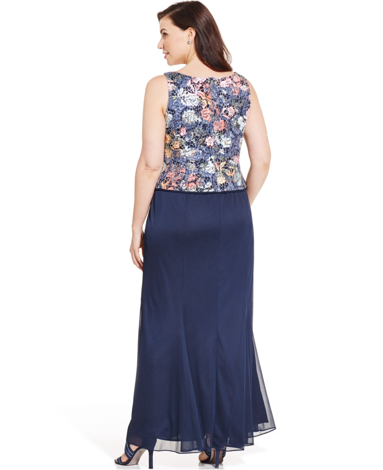 Alex evenings Plus Size Sequined Lace-Bodice Gown With Jacket | Lyst