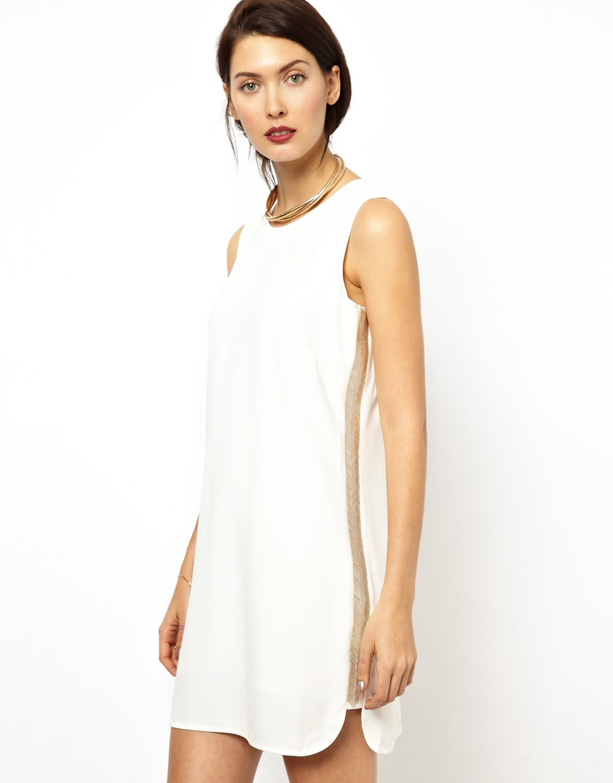 32ab93a25f Lyst - BCBGMAXAZRIA Bcbgmaxazria Shift Dress With Beaded Detail in White