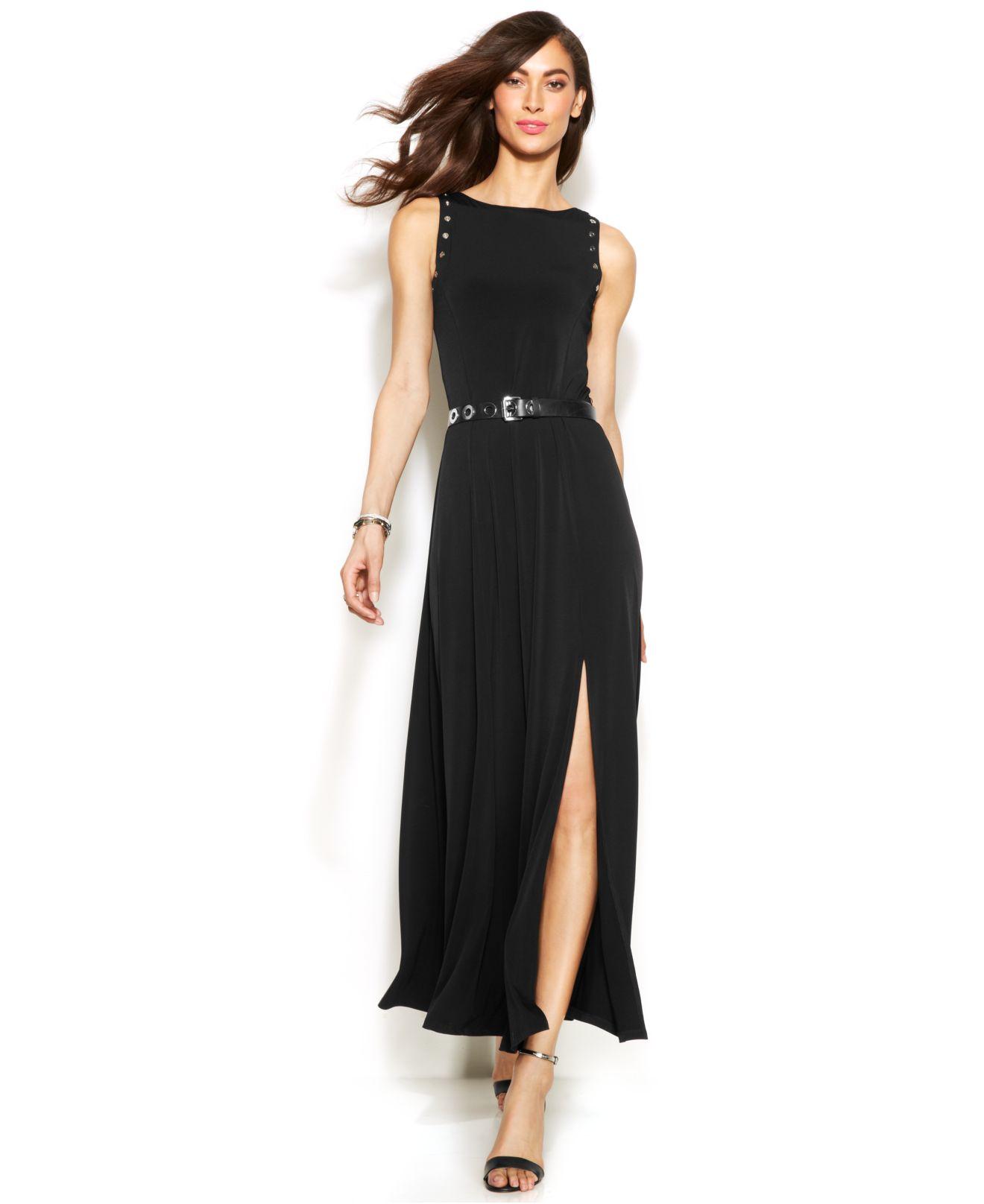 Lyst - Michael Kors Michael Grommet-Trim Belted Maxi Dress ...