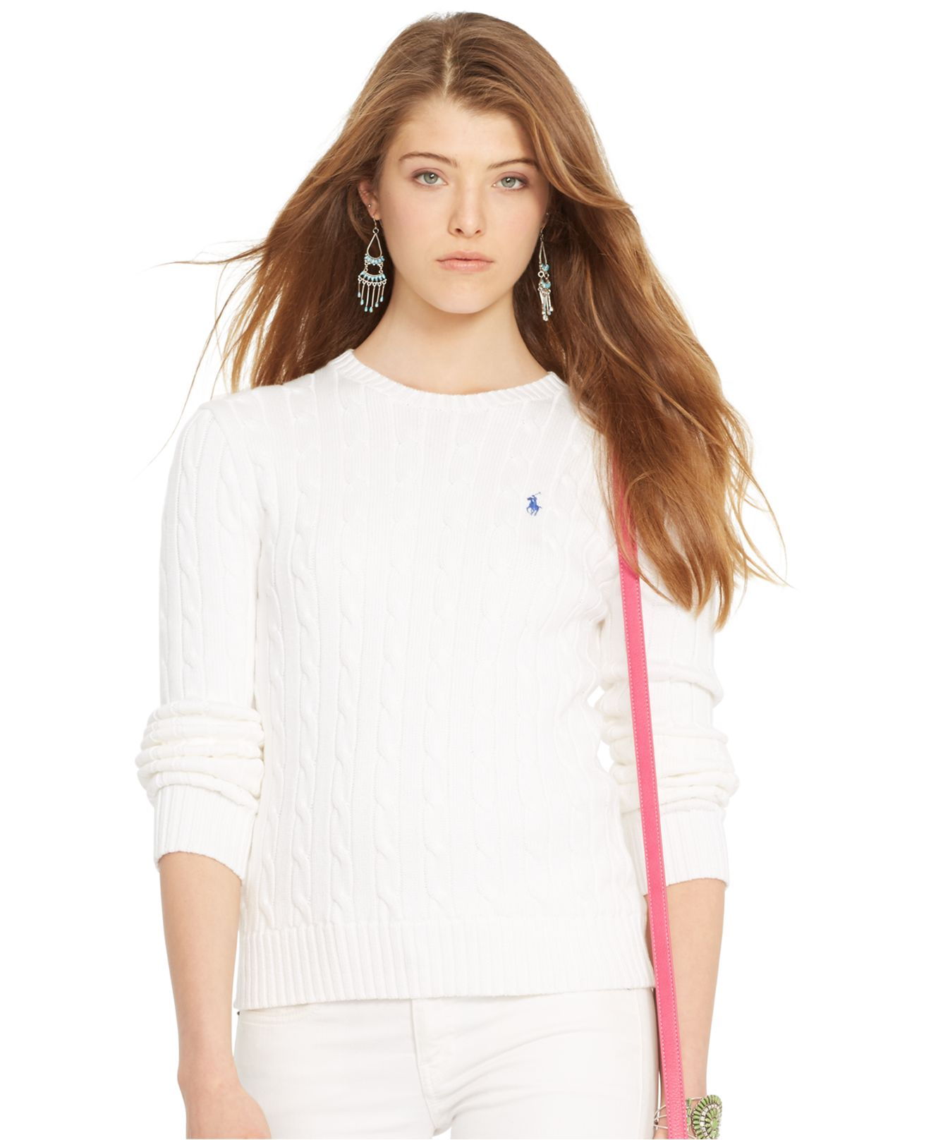 fb4631de2 Lyst - Polo Ralph Lauren Crew-Neck Cable-Knit Sweater in White
