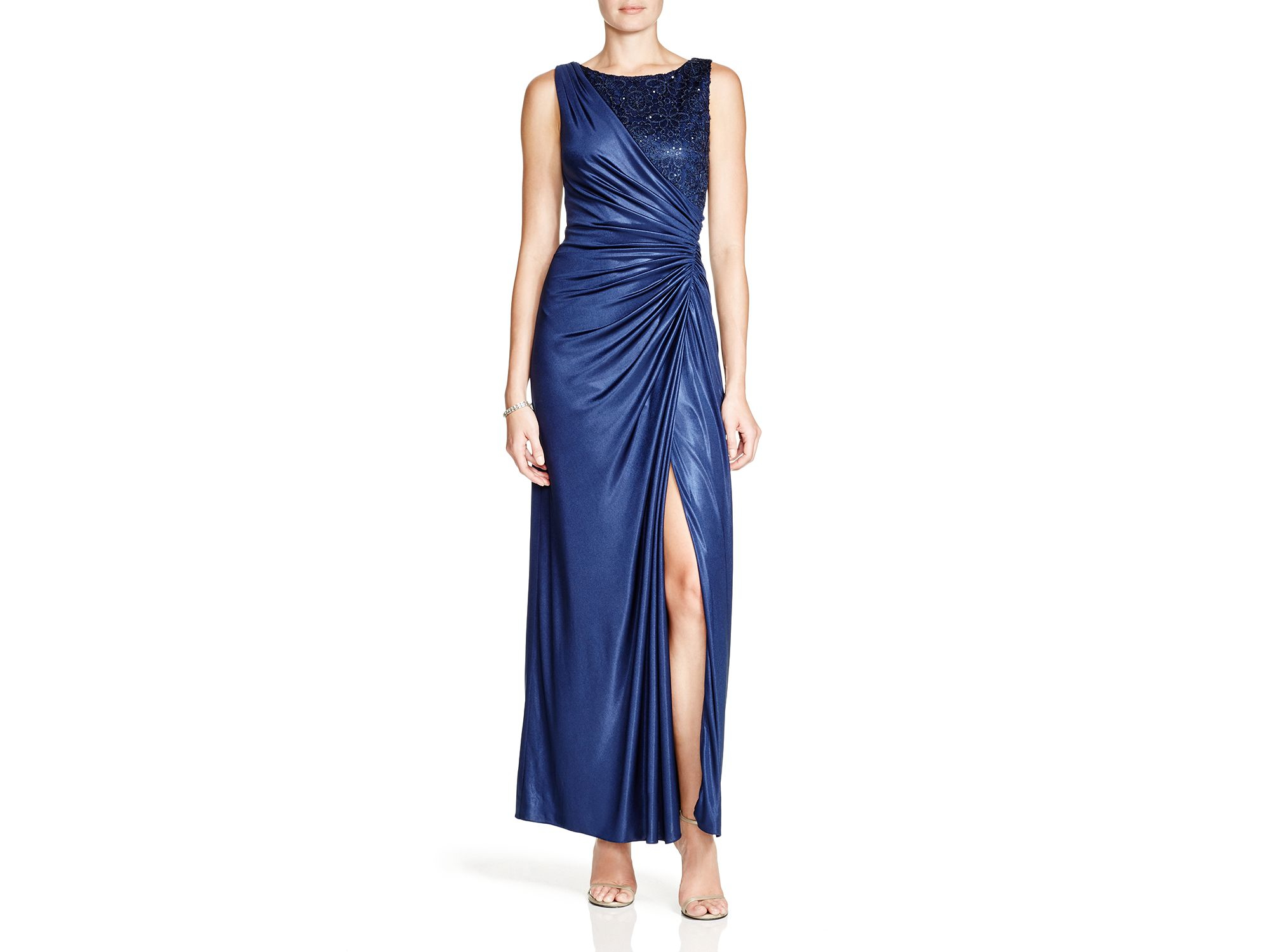 Lyst - Adrianna Papell Sleeveless Lace & Matte Jersey Gown in Blue
