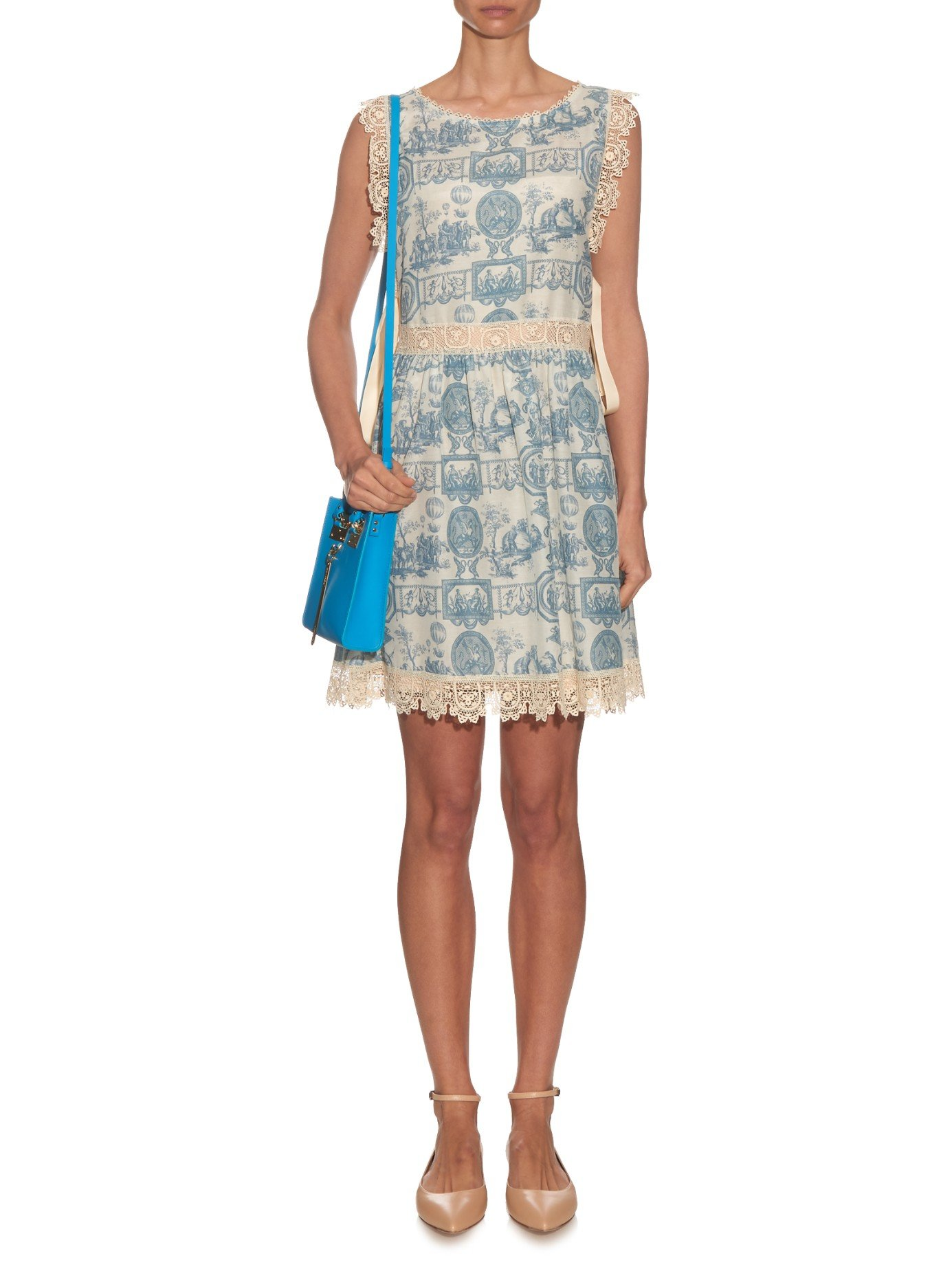 Lyst Red Valentino Toile De Jouy Lace Trim Dress In Blue
