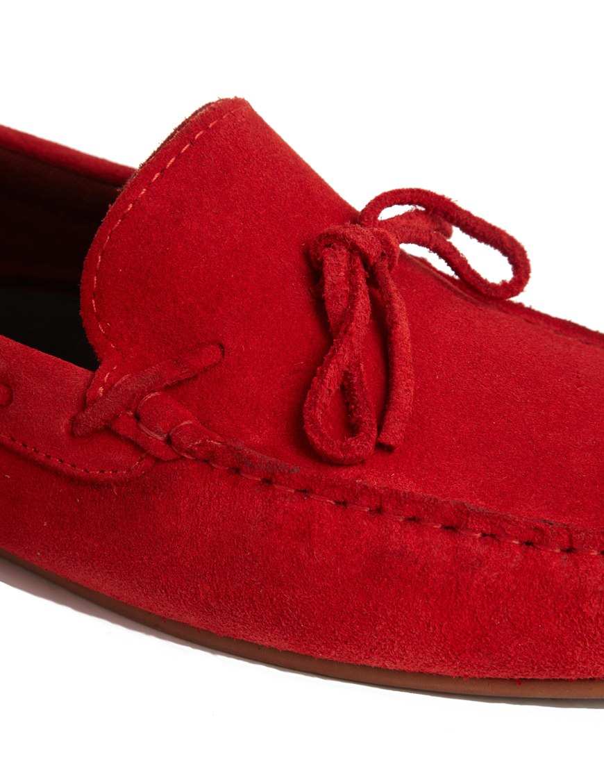 lyst asos loafers in suede in red for men