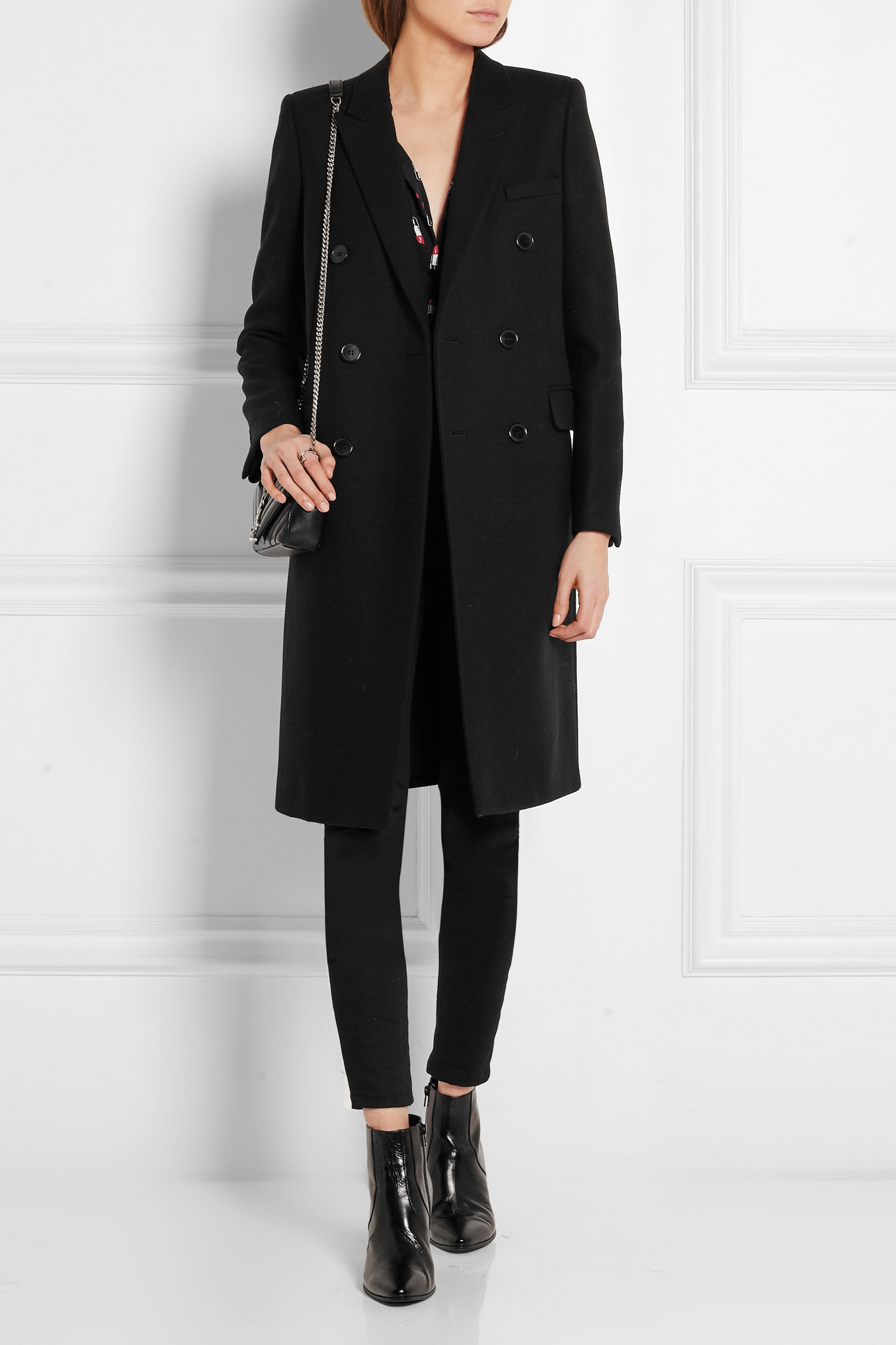 Laurent Wool Saint Black Double Overcoat Breasted WOzExaEqSX