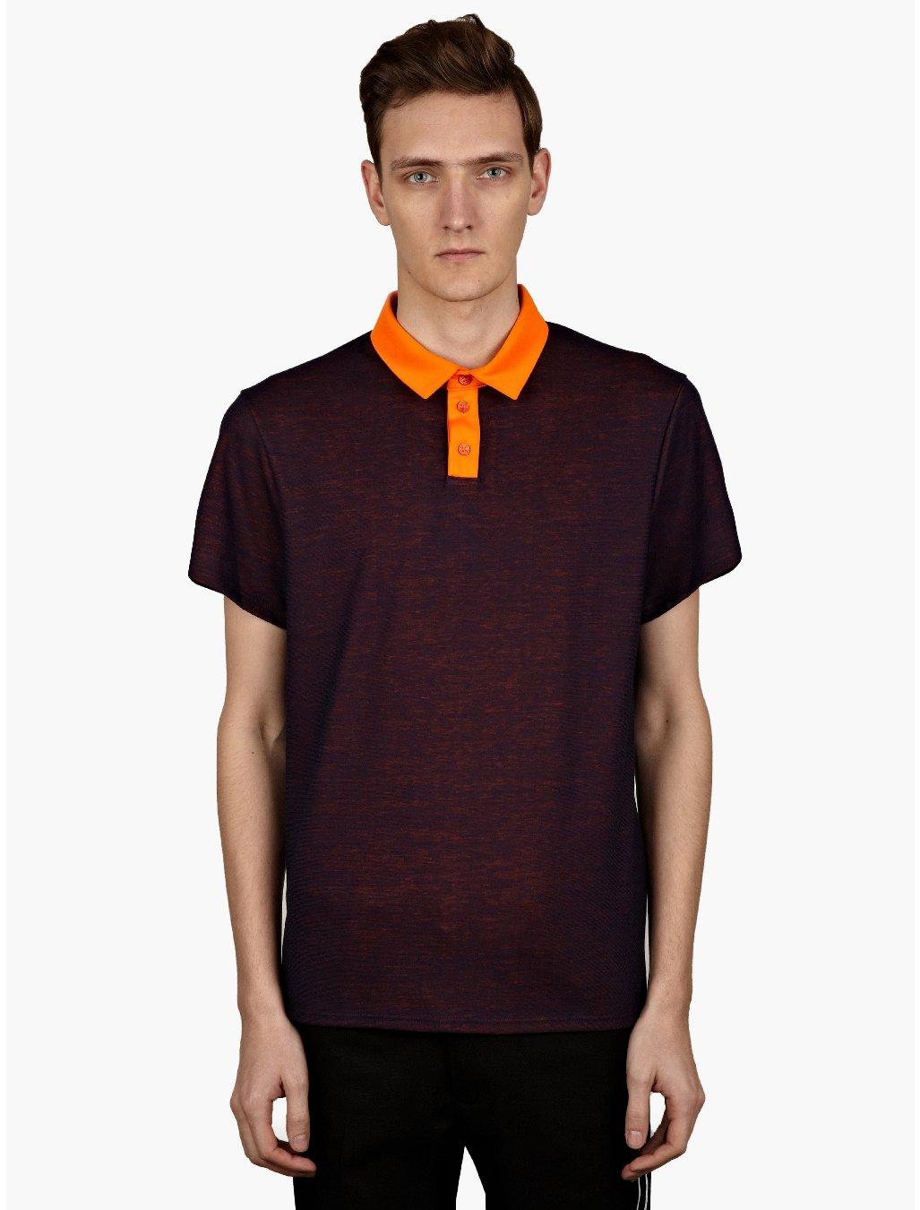 Jil sander mens navy blue contrast collar polo shirt in for Jil sander mens shirt